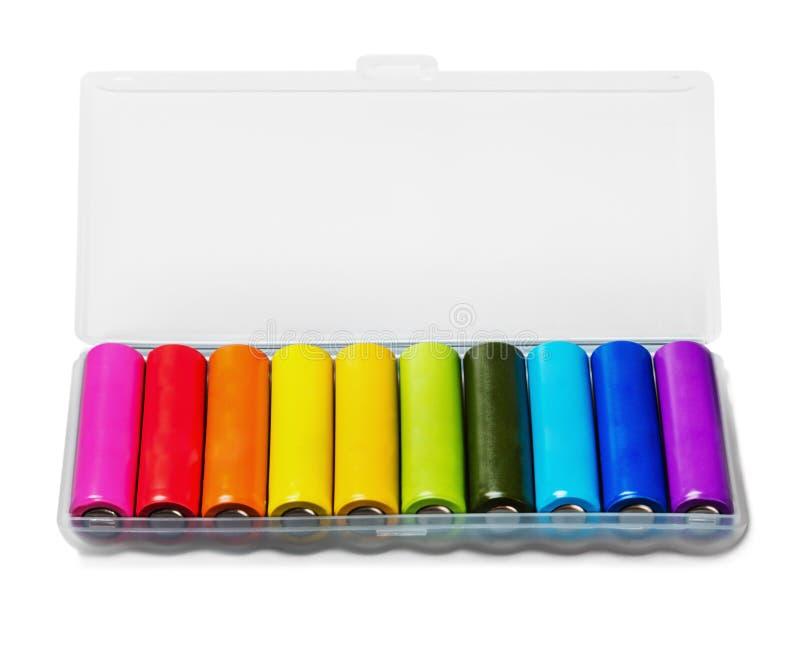 另外颜色碱性电池或可再充电电池 免版税库存照片
