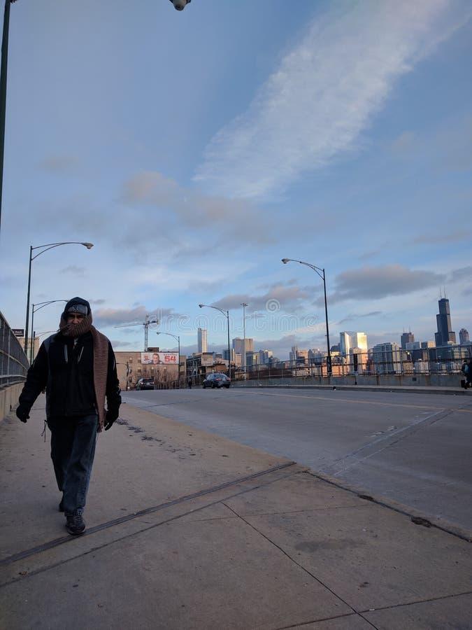 只勇敢在芝加哥冬天 图库摄影