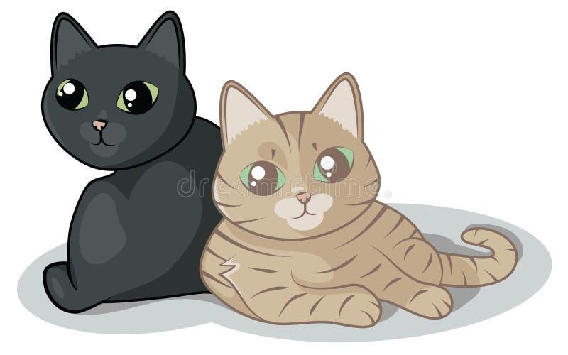 2只逗人喜爱的猫 向量例证