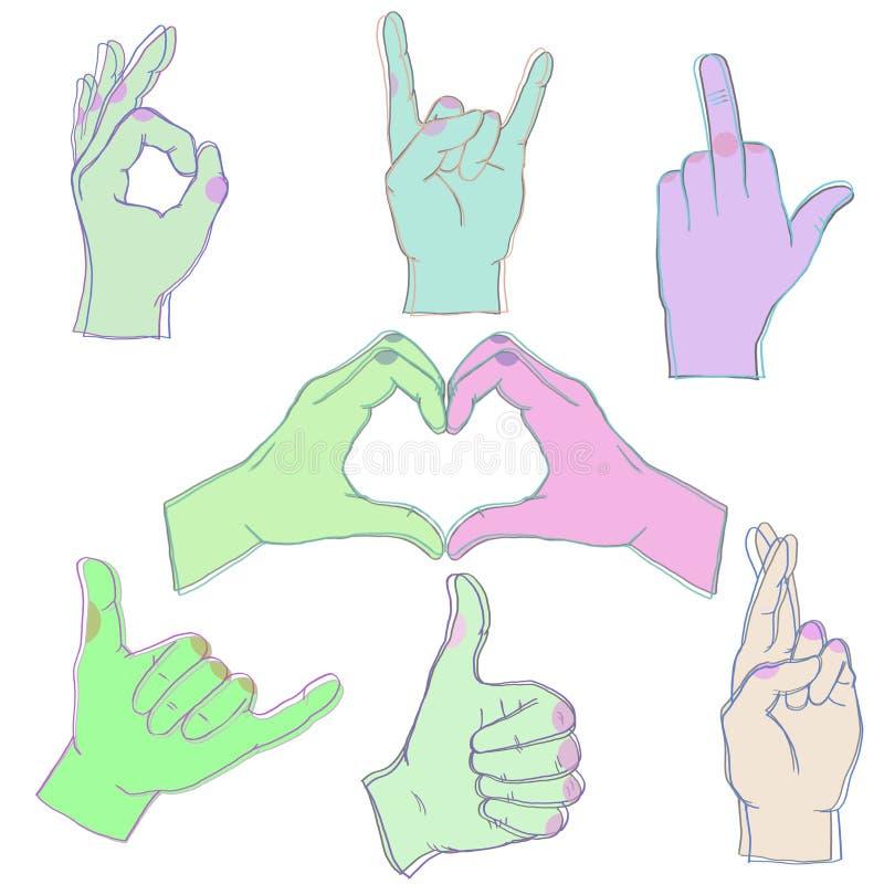 7只颜色手汇集 样式手 象性交, O K 岩石在白色背景的爱誓愿Sewar 向量例证