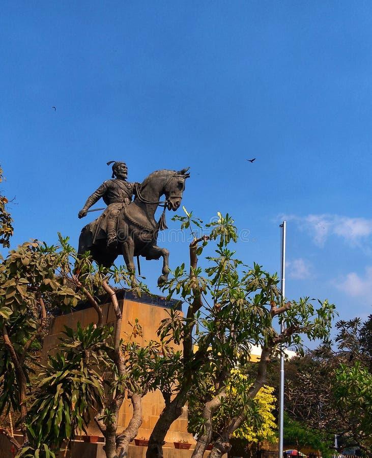 叫作贾特拉帕蒂的印度战士国王雕象希瓦吉马哈拉杰 免版税图库摄影