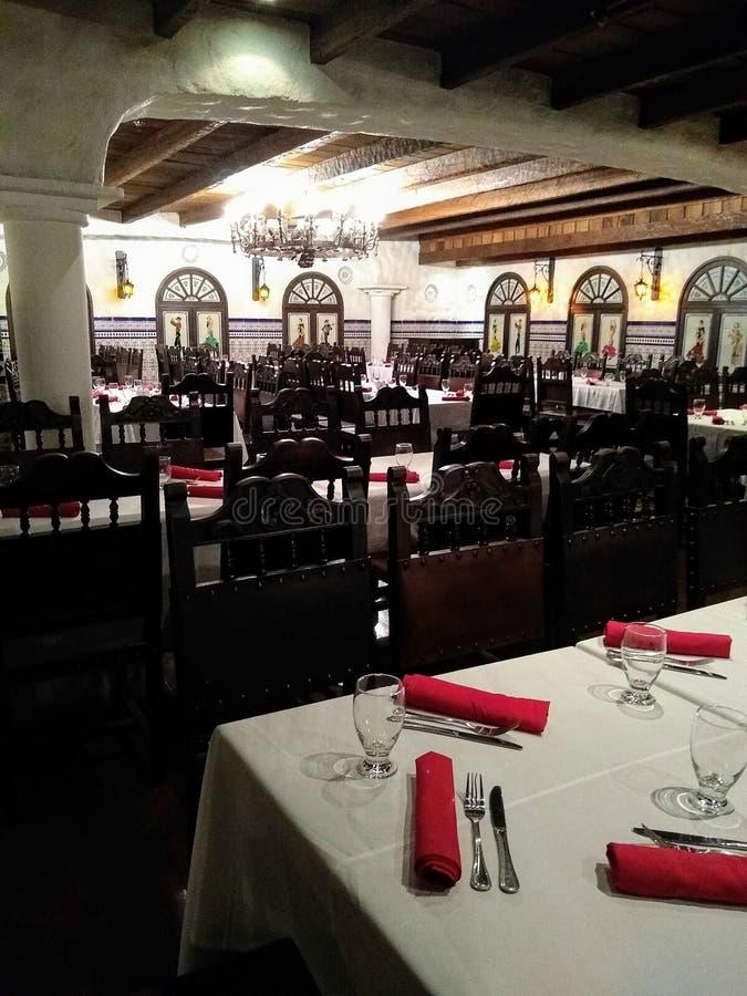 叫作tasca的西班牙餐馆在加拉加斯委内瑞拉,苦楝根皮加拉加斯旅馆 库存照片