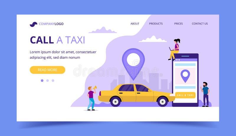 叫出租汽车着陆页 与出租汽车汽车的概念例证智能手机,小人字符 库存例证