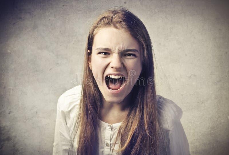 叫喊的女孩 免版税库存照片