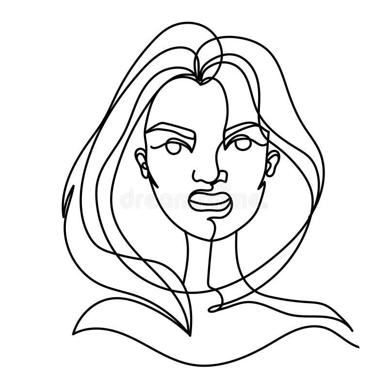 叫喊的妇女一线艺术画象 恼怒的女性表情 手拉的线性妇女剪影 库存例证