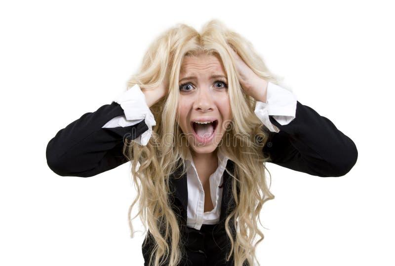 叫喊的妇女年轻人 免版税图库摄影