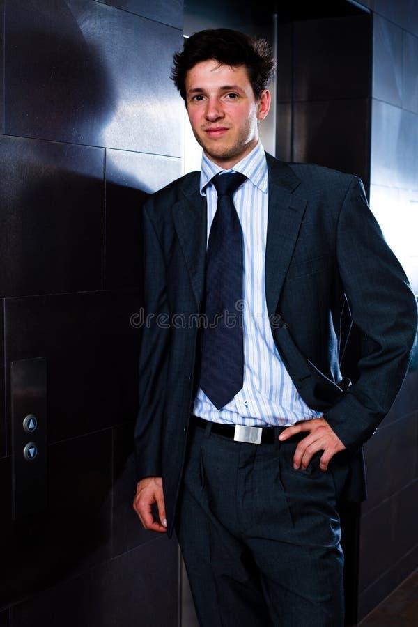 叫的生意人电梯 库存图片