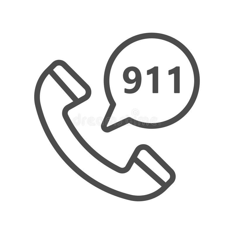 叫的紧急状态服务填装了概述象,线传染媒介标志,在白色隔绝的线性五颜六色的图表 电话和 向量例证