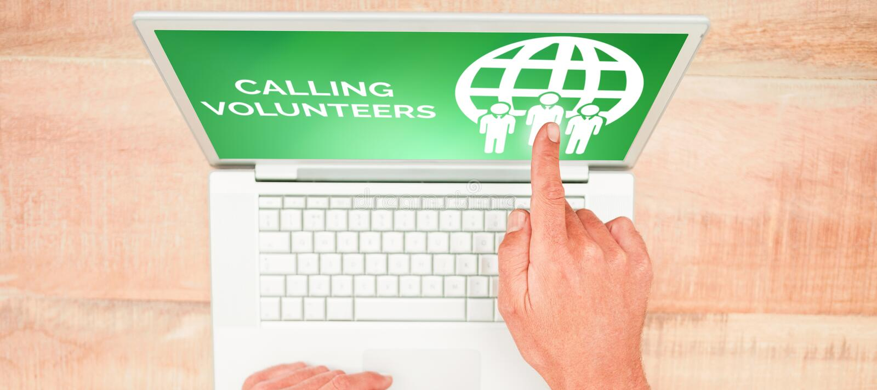 叫的综合图象志愿与象的文本在绿色屏幕上 免版税库存图片
