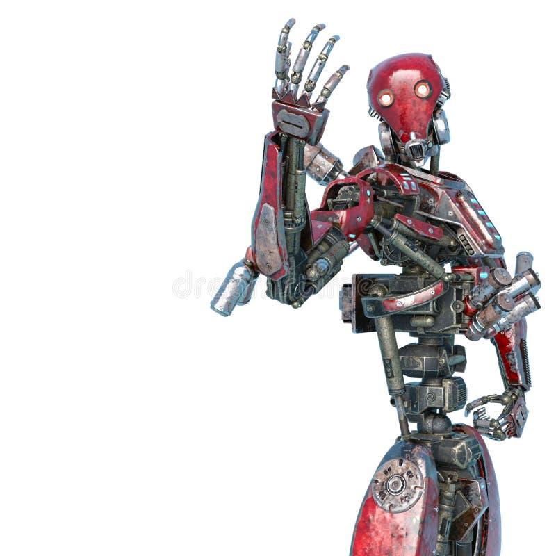 叫纽约行动的机器人战斗在白色背景中 库存例证