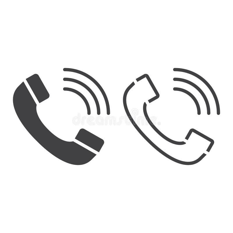 叫线象,电话概述和固体传染媒介标志,线性 向量例证