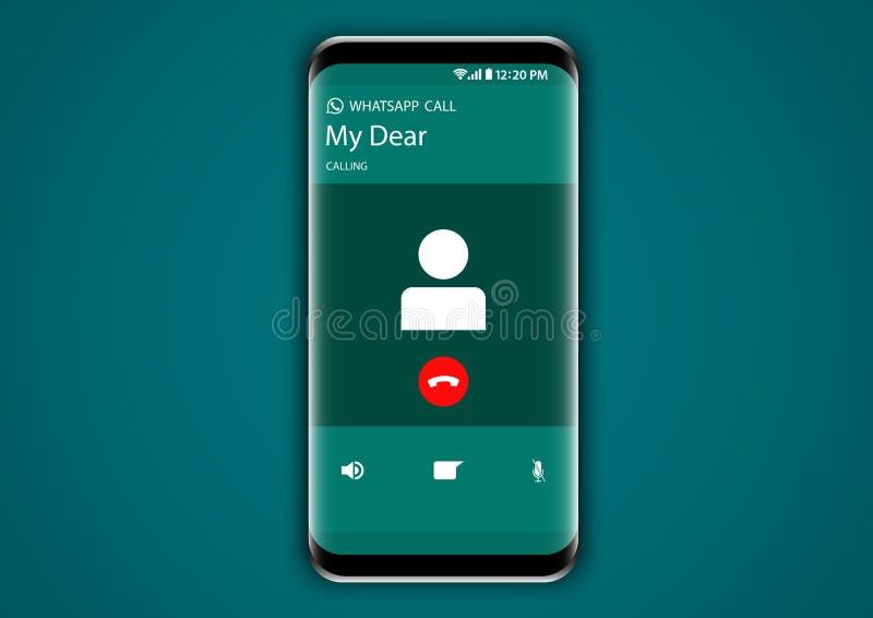 叫Whatsapp的信使屏幕用户界面 皇族释放例证
