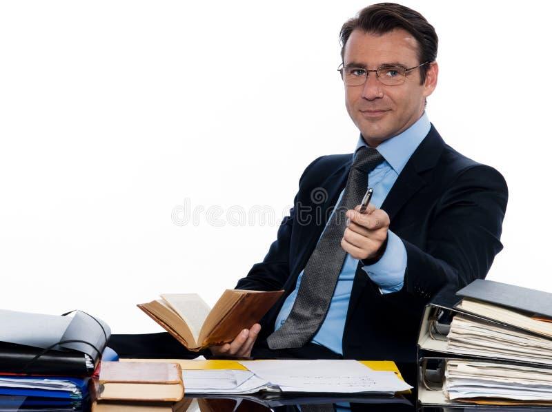 召唤指向教授教师的商人 免版税库存图片