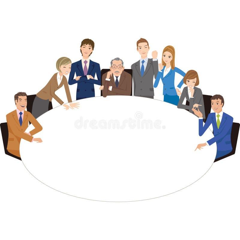 召开与圆桌的会议的Ffice工作者 向量例证