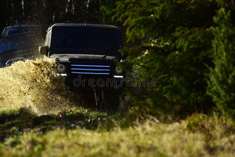 召集,竞争和四轮驱动的概念 开汽车赛跑在秋天自然的秋天森林越野种族 免版税库存照片