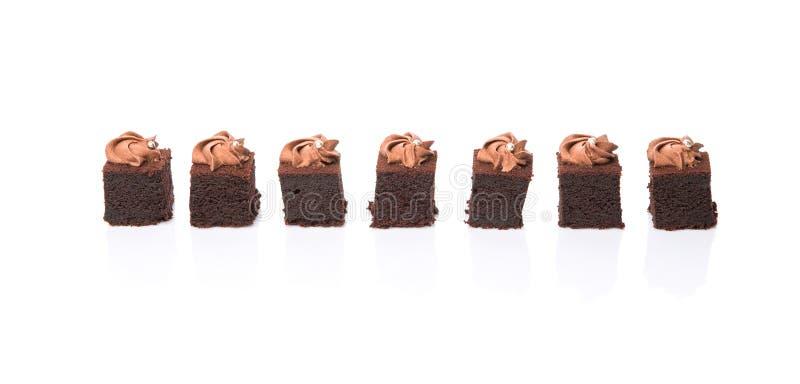 叮咬大小的巧克力蛋糕我 库存照片