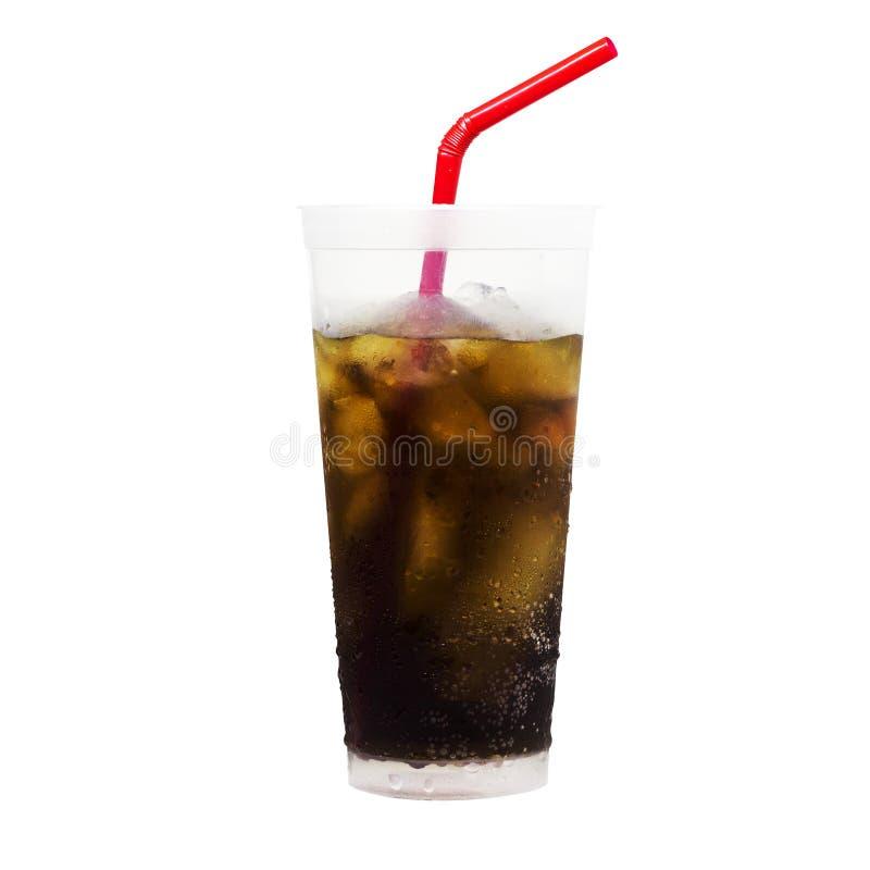 可乐冰管红色新玻璃被隔绝的白色背景 库存照片