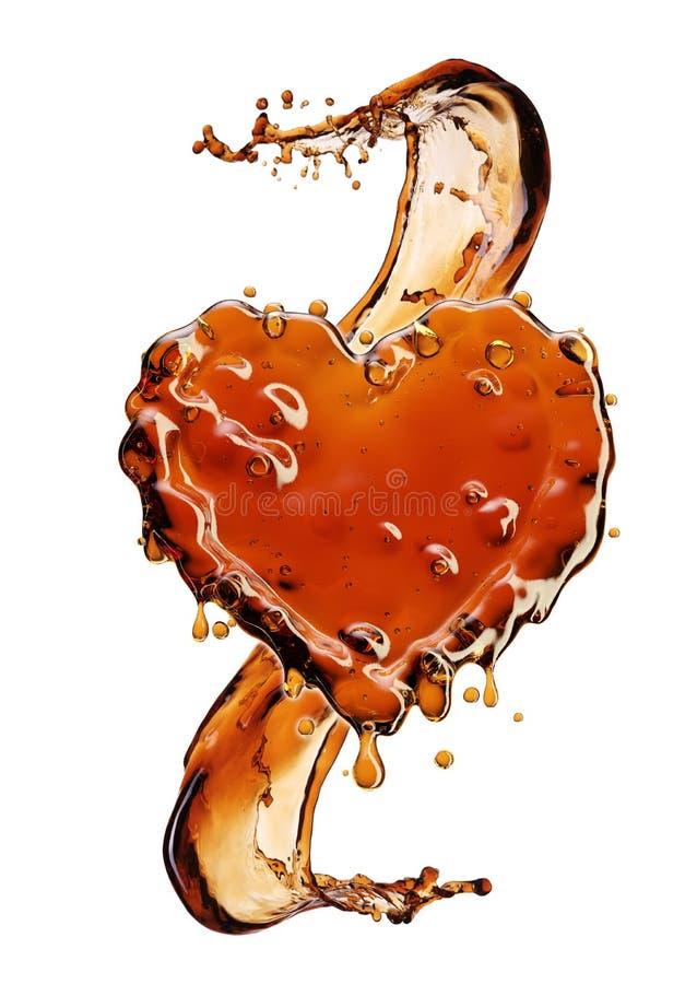 从可乐飞溅的心脏与在白色隔绝的泡影 库存例证
