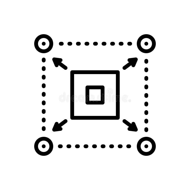 可伸缩,扩展器和散开的黑线象 库存例证