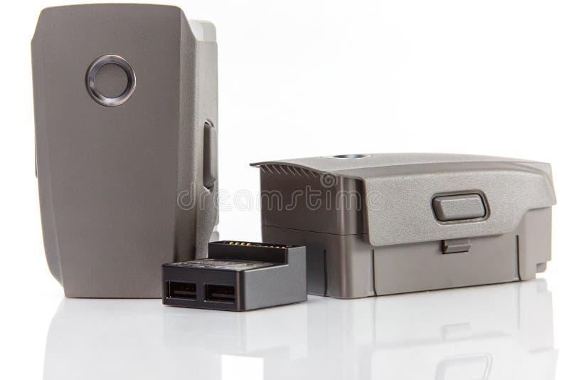 可再充电电池和适配器特写镜头 Mavic赞成2 technol 免版税库存照片