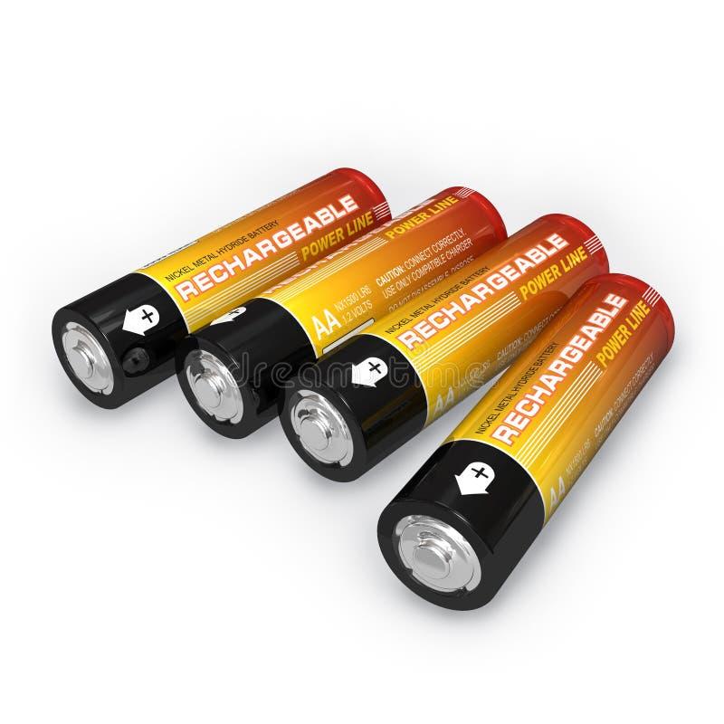 可再充电aa的电池四 库存例证
