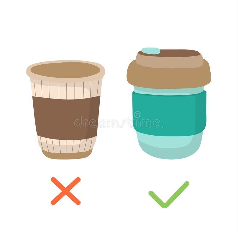 可再用的咖啡杯和一次性杯子-零的废概念例证 能承受的生活方式,减少塑料 皇族释放例证