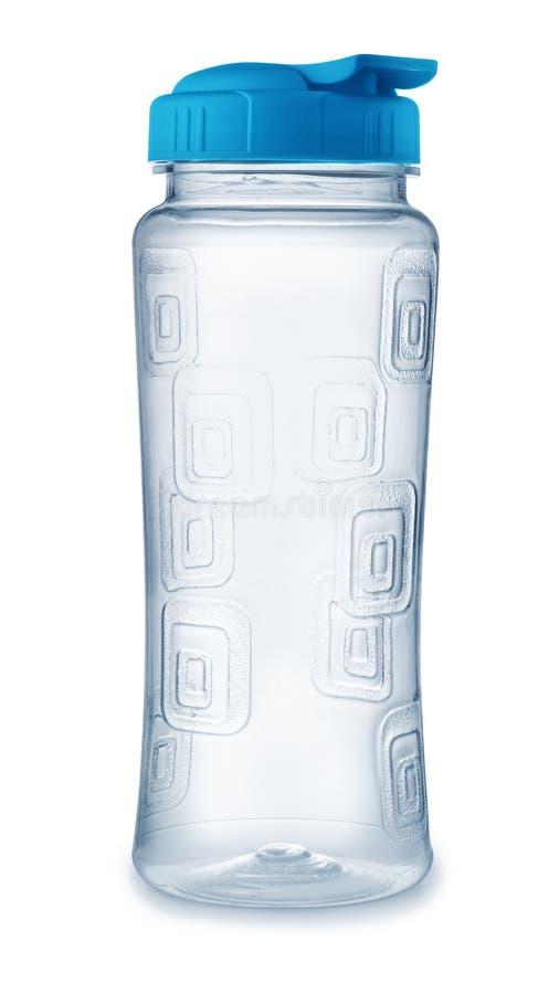 可再用的塑料水瓶正面图  库存图片