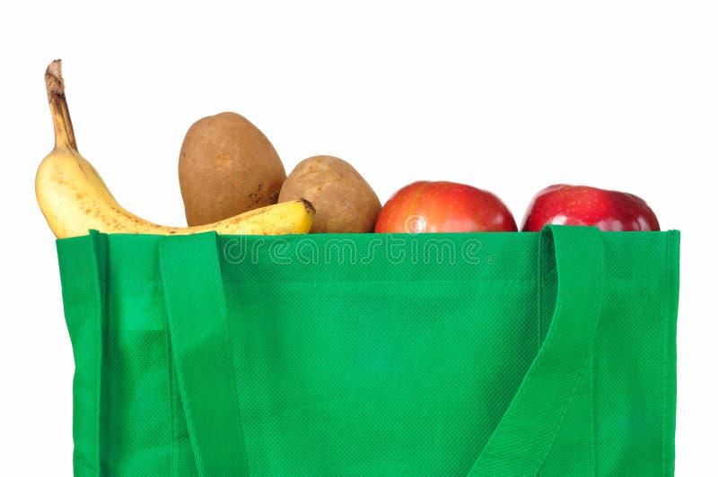 可再用袋子绿色的副食品 库存照片
