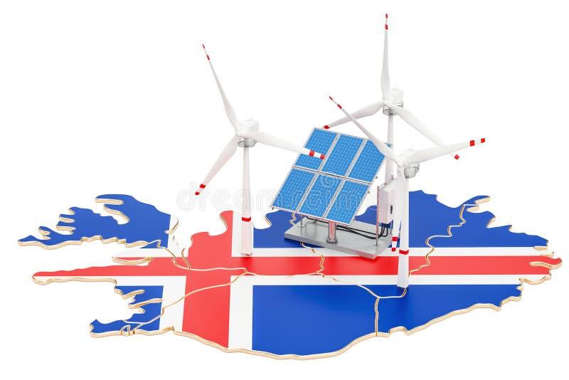 可再造能源和可持续发展在冰岛,概念 库存例证