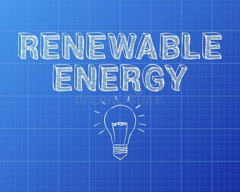 可再造能源手拉的图纸 库存例证
