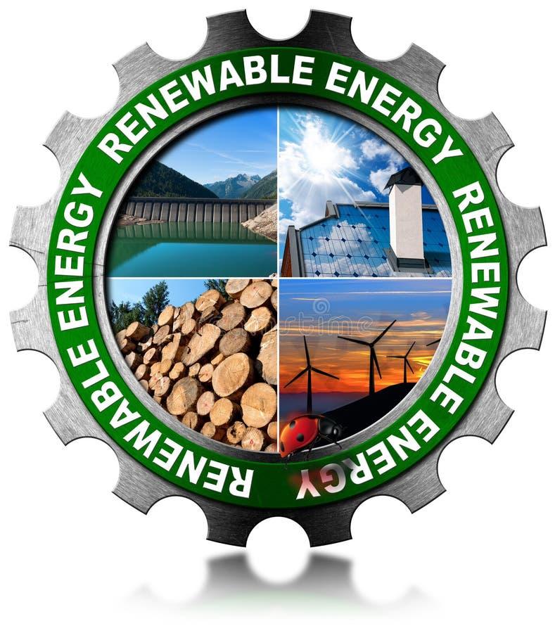可再造能源概念-金属齿轮 向量例证