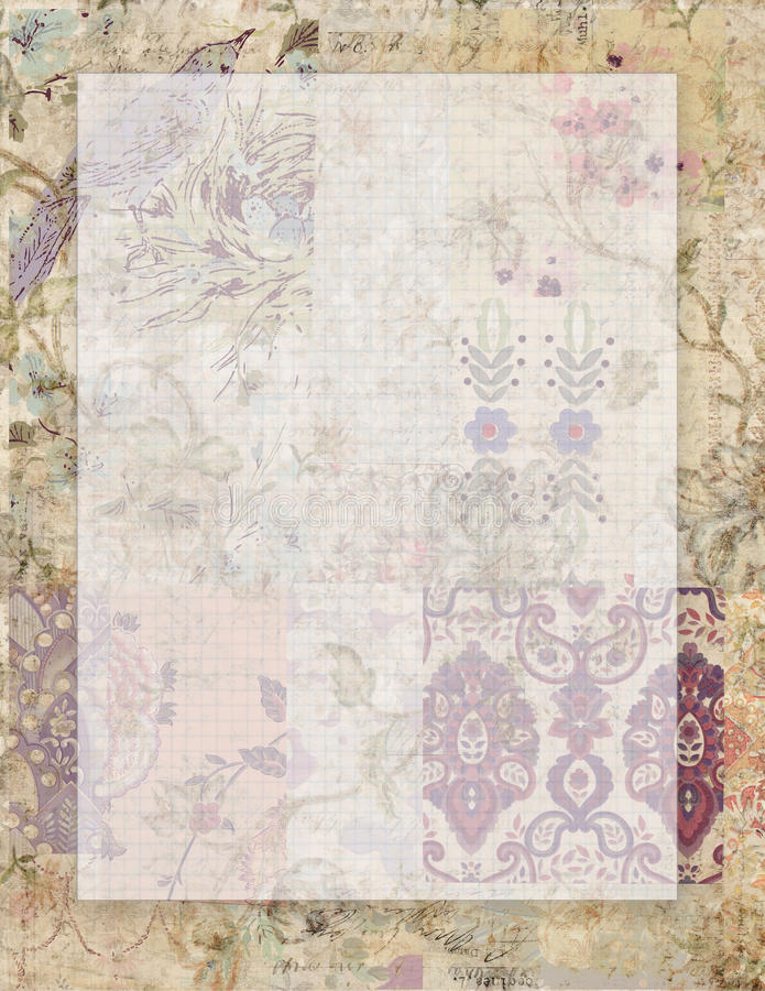可印的葡萄酒脏的破旧的别致的样式花卉固定式在与空间的collaged葡萄酒墙纸背景文本的 库存例证
