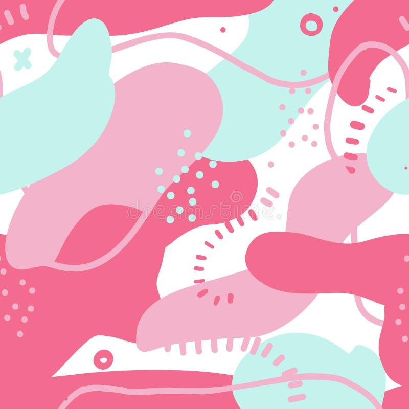 可变的大胆的形状无缝的样式 与五颜六色的元素的抽象设计 在桃红色颜色的混乱污点 向量打印 库存例证