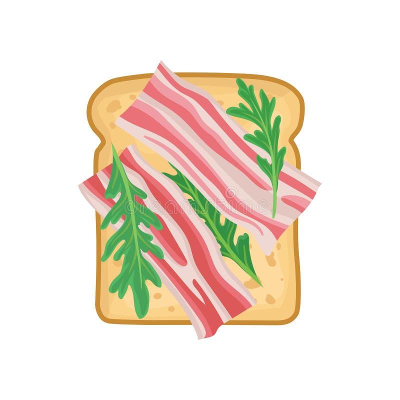 可口三明治平的传染媒介象早餐或午餐的 与切片的敬酒的面包烟肉和绿色 鲜美 向量例证
