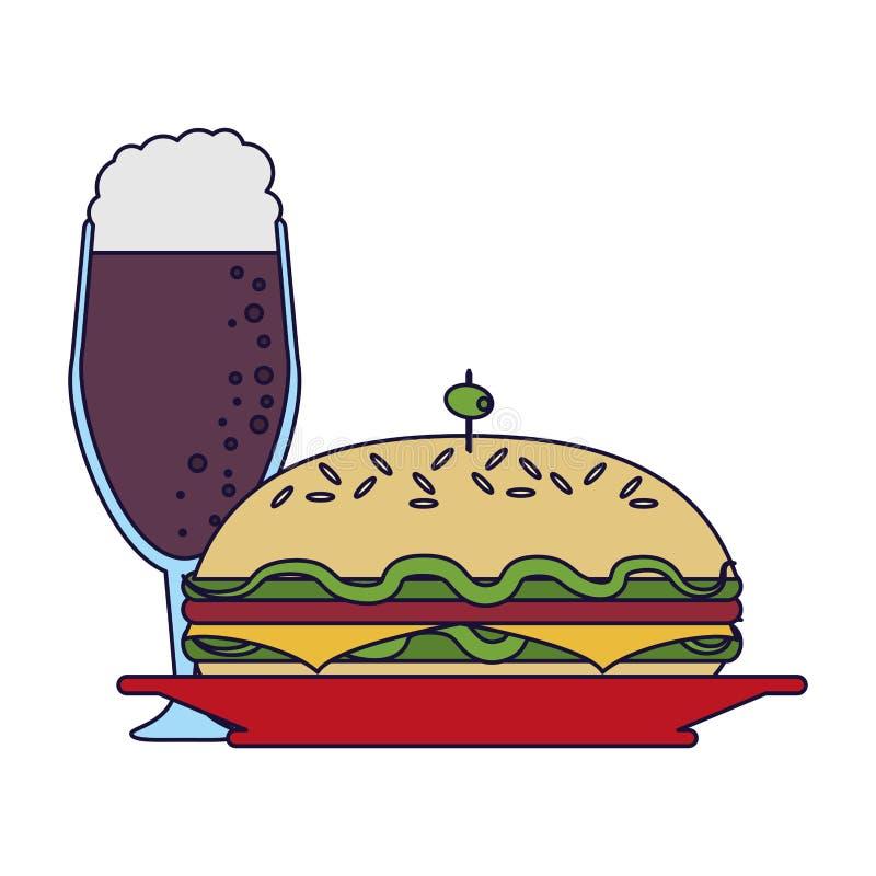 可口三明治食物 向量例证