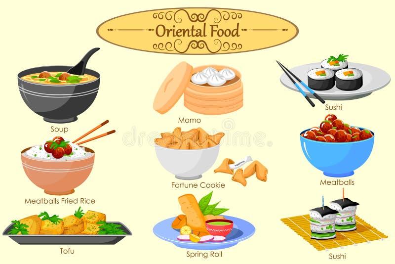可口东方食物的汇集 皇族释放例证