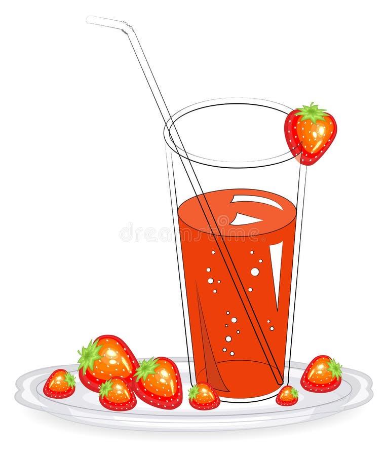 可口健康刷新的饮料 在一杯自然果汁,在板材的成熟红色草莓 r 库存例证