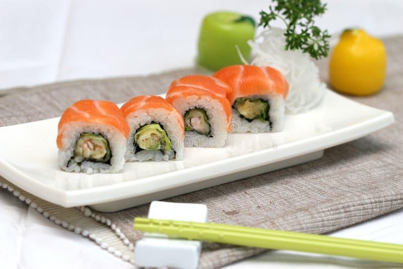 可口准备的獐鹿卷寿司豆腐 库存照片