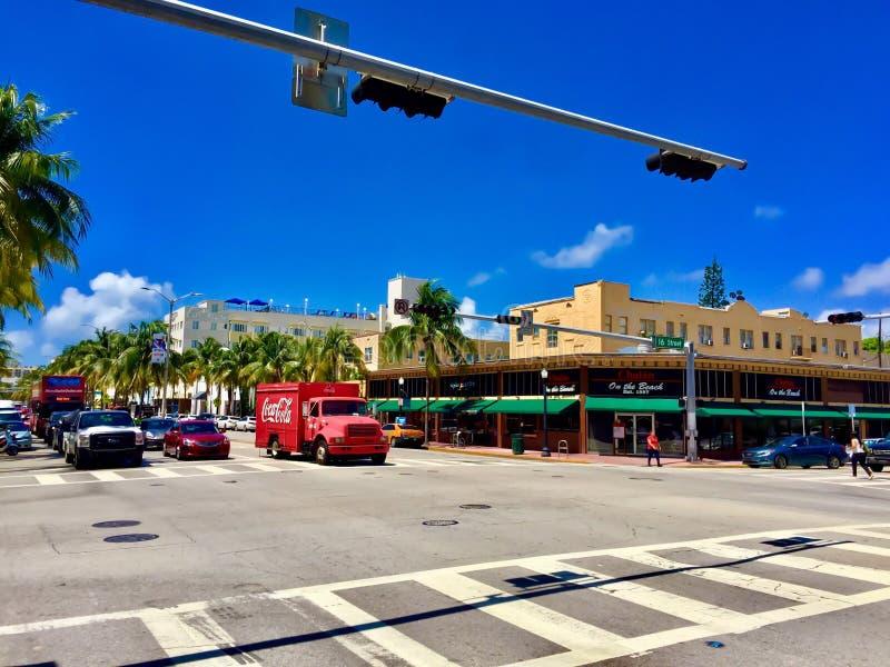 可口可乐卡车,南海滩 免版税库存图片