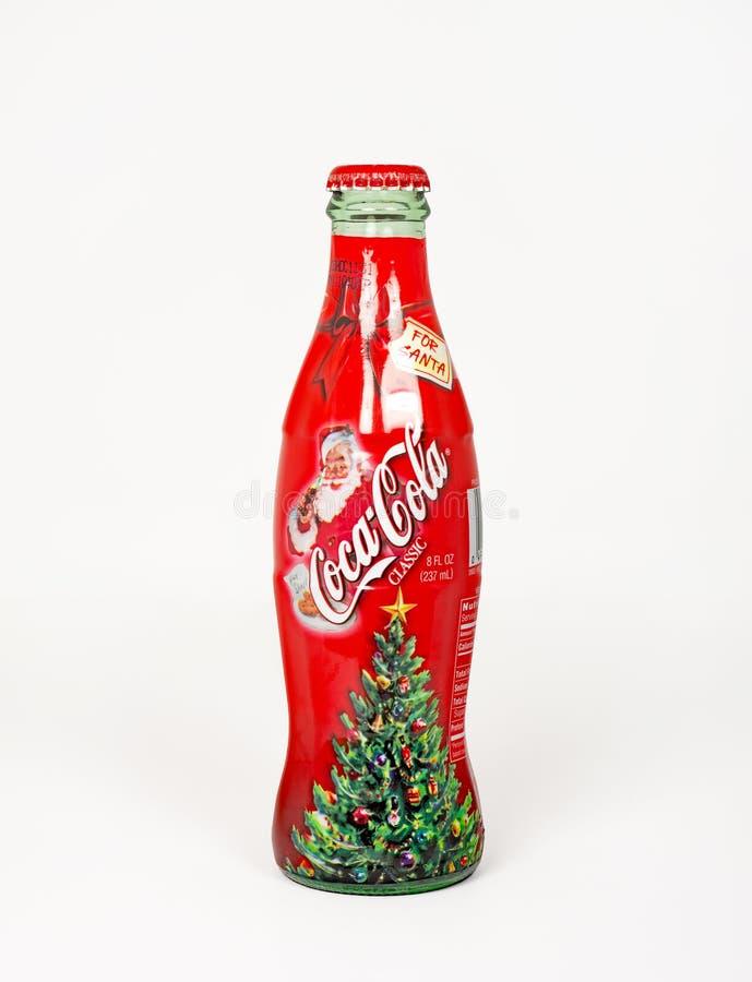 可口可乐瓶,圣诞老人的 免版税图库摄影