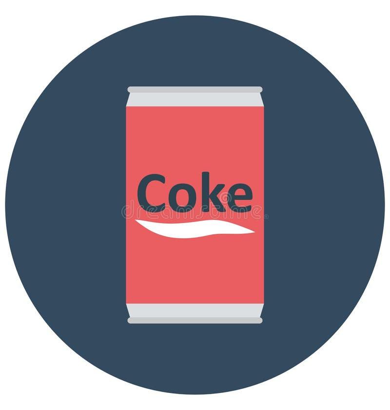 可口可乐,焦炭锡隔绝了颜色可以容易地修改或编辑的传染媒介象 向量例证
