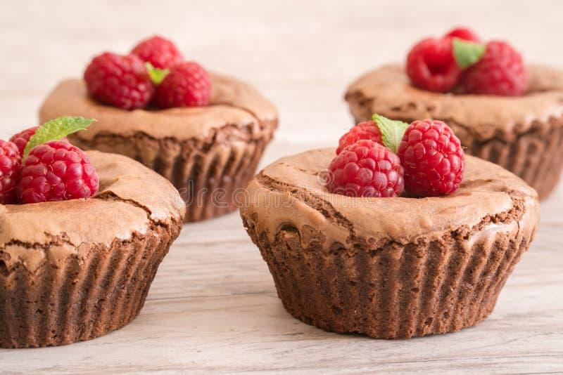 可口巧克力熔岩结块用新鲜的莓和薄菏,细节 免版税图库摄影
