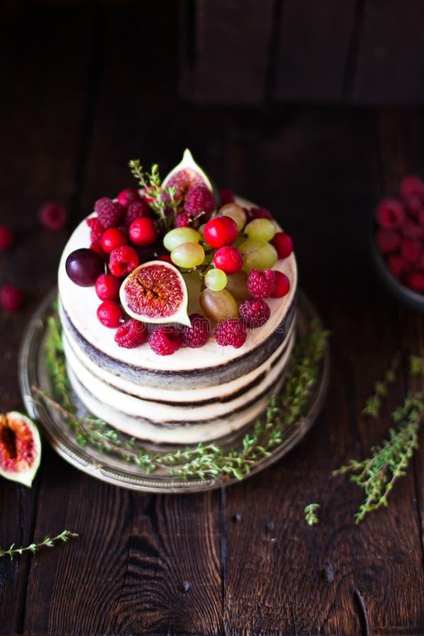 可口巧克力蛋糕用无花果和莓果在一土气backg 库存图片