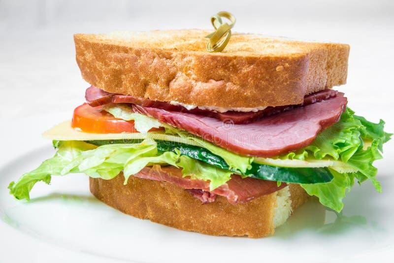 可口快餐 三明治用烟肉、黄瓜、乳酪和草本 水平的框架 库存图片