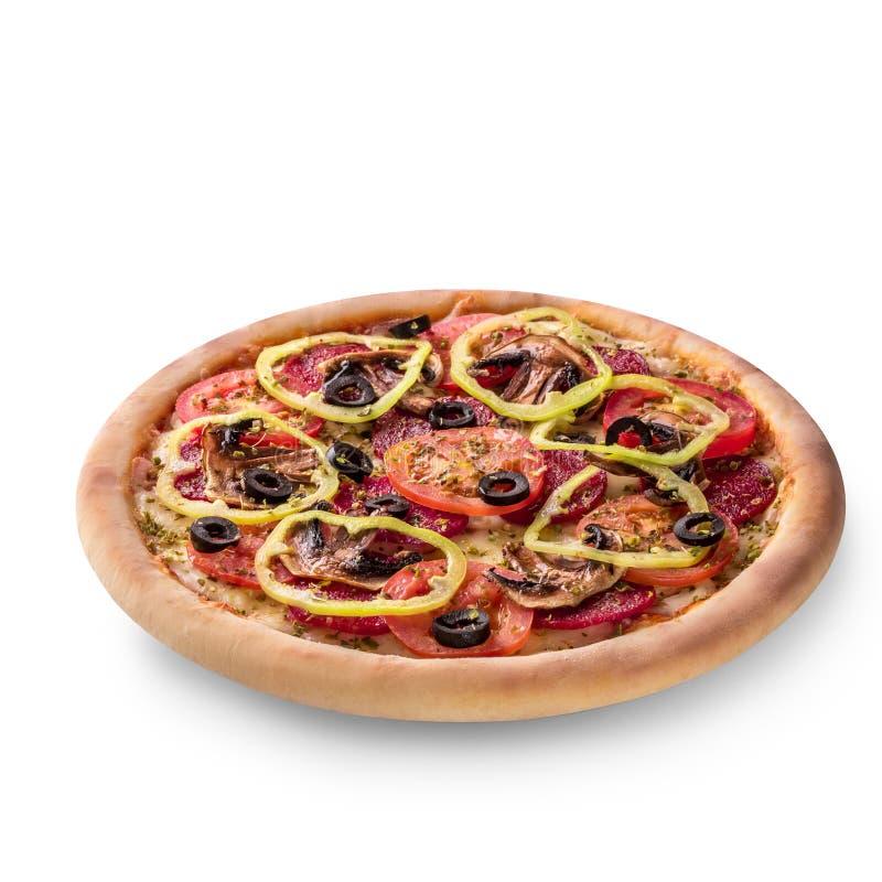 可口意大利薄饼用在白色背景和蘑菇,顶视图隔绝的蕃茄、意大利辣味香肠 免版税库存图片
