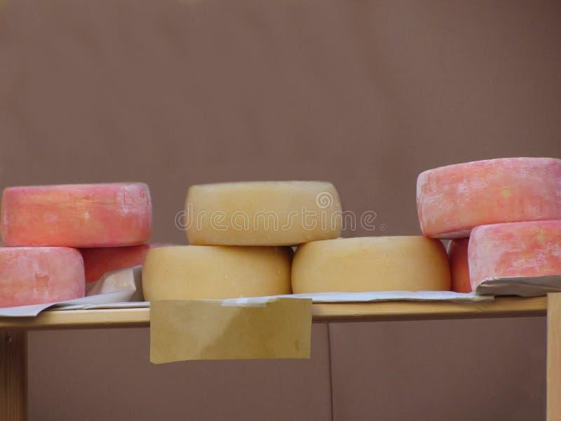 可口托斯坎Pecorino乳酪和山羊乳干酪轮子 Pecorino做用未加工的母羊` s牛奶并且调味与葡萄果渣 免版税库存照片