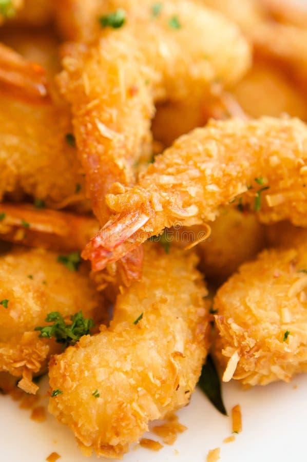 可口新鲜的油煎的虾 免版税库存照片
