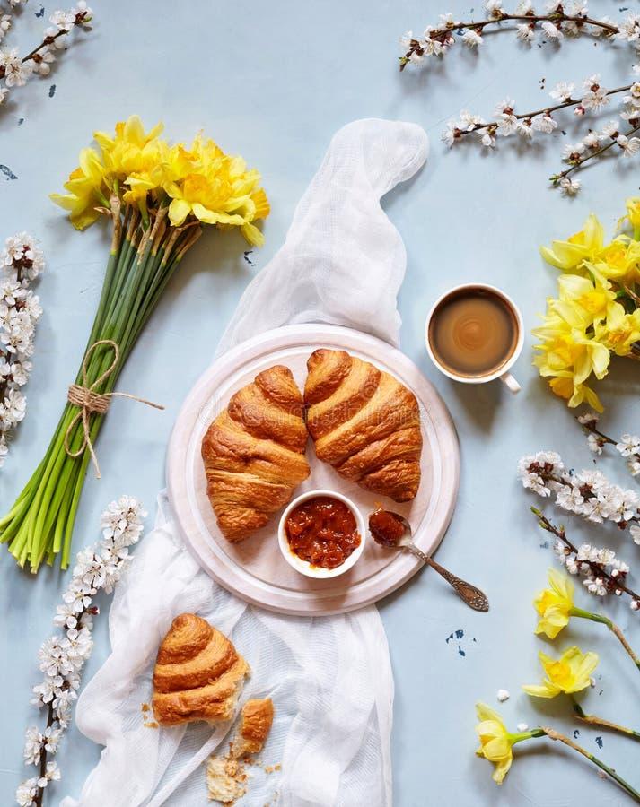 可口早餐用新鲜的新月形面包、果酱和咖啡与春天开花黄水仙花束在浅兰 免版税库存图片