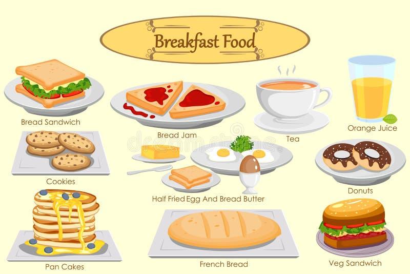 可口早餐的汇集 皇族释放例证