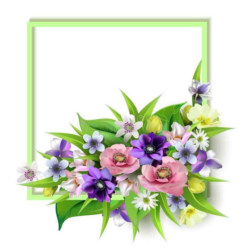 可口春天的构成为明信片开花,小册子,横幅,飞行物设计,隔绝,平面表面上, vect 免版税库存图片